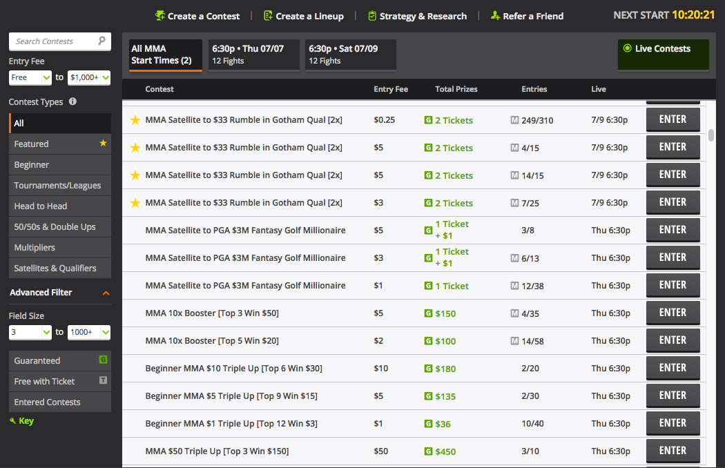 DraftKings MMA Lobby Screen